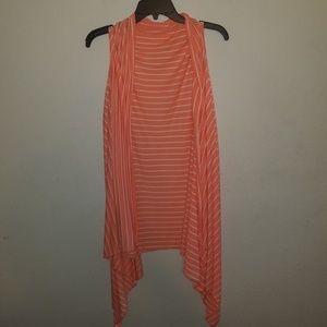 Orange & White Striped Cardigan